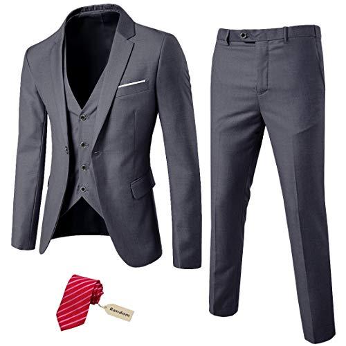 MYS Men's 3 Piece Slim Fit Suit Set, One Button Solid Jacket Vest Pants with Tie Dark Grey