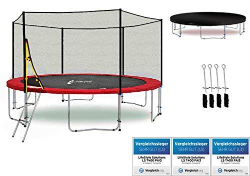 LifeStyle ProAktiv LS-T430-PA14 (R) Trampolino da Giardino 430cm - incl. Rete di Sicurezza 130g/m² - New