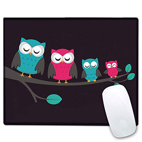 RICHEN Mouse Pad, Art Design Mouse Mat, Anti Slip Floral Mousepad for Desktop, Computer, PC and Laptops, Personalized Mouse Pad for Office and Home, Rectangle 10.23 x 8.27 inch (Cute Owls)