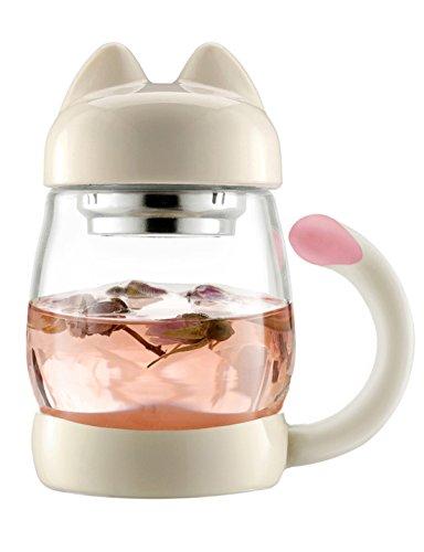 Taza de gato con colador de té – BZY1 (0,42 l) portátil,...