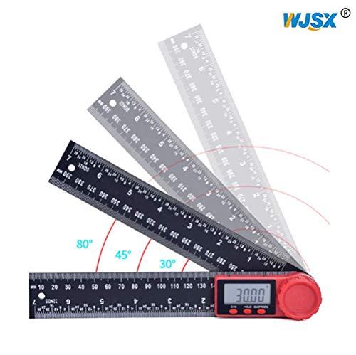 WJSX 2in1 Digitales Winkelmesser Zeroing und Erriegelungsfunktion 0,01 ° Auflösung 200 mm LCD Digitaler Anzeige 360 ° zum Präzisen Anreißen Zeichnen ideal für Handwerker und Heimwerker