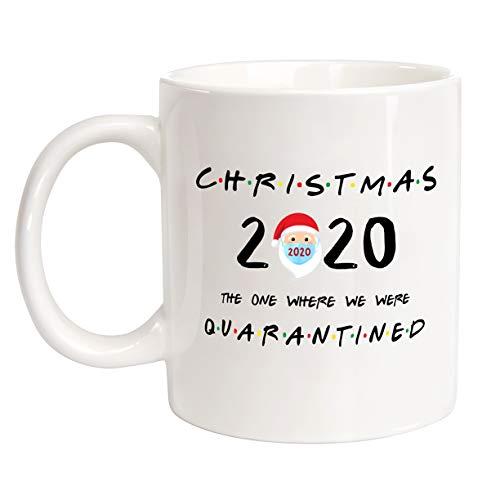 CIOEY Coffee Mug Funny Present-CHRISTMAS 2020 QUARANTINED-Novelty Christmas Holiday Santa Wearing a Mask Fun FRIENDS Mug Gifts For Men Women Cool Gag Ceramics White 11 Oz