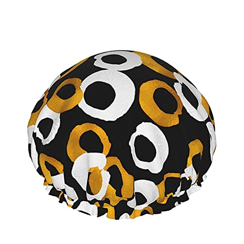 Double Layers Shower Cap,Trendy Blog Hand Drawn Gold And Black Ink Design Elements,Reusable Waterproof Elastic Bath Caps for All Hair Lengths