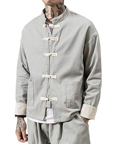 Liangzhu Herren Leinen Mäntel China Handgemachte Kung Fu Tai Chi Baumwolle Jacke Von Maßschneider Grau L