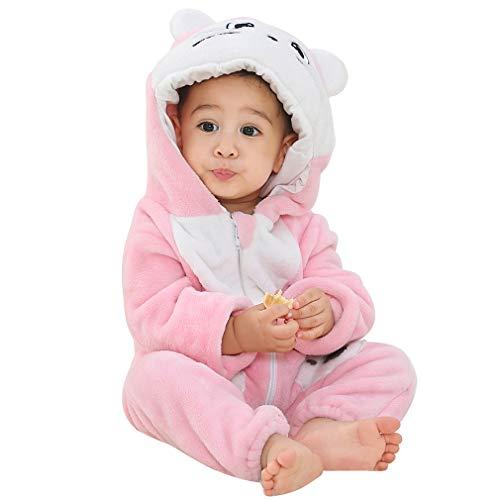 MICHLEY Bebé Invierno Romper Monos Pijamas de Franela de Animales con Capucha para niños pequeños...