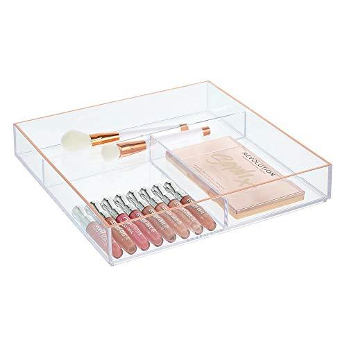 mDesign - Cosmetica-organizer - opbergbox/make-up - voor badkamer en slaapkamer - organizer- voor cosmetica zoals lippenstift, nagellak en meer - praktisch - Doorzichtig/roségoud