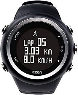 EZON GPS Sports Watch Outdoor with Distance Pace Alarm and Calorie Counter for Men T031A01 Black