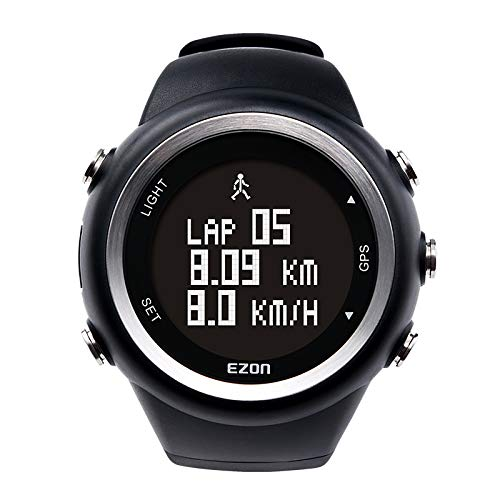 EZON GPS Running Watch with Speed Distance Pace Alarm and Calorie Counter and Stopwatch for Men T031B01 Black