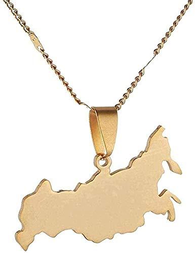 ZGYFJCH Co.,ltd Collares Collar Mapa de Acero Inoxidable Collares rusos Pendientes Joyería Federación de Rusia