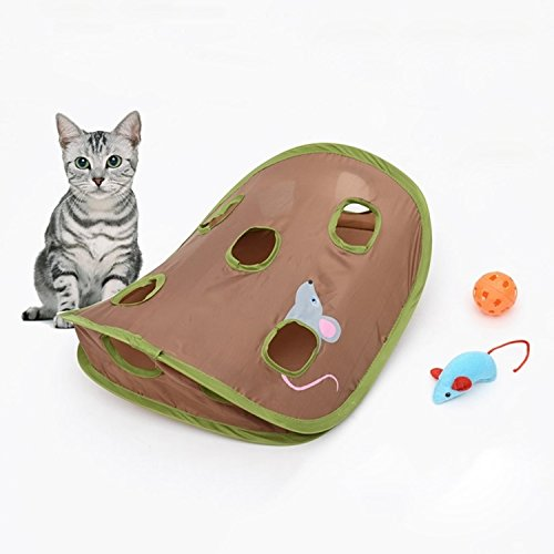 Haustierzubehör Haustier-Zubehör Lustige Katze Spielzeug-Maus Loch-Stick mit Glocken Grasping Interactive Mäusejagd Katzenspielzeug