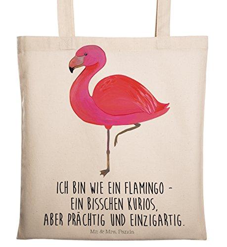 Mr. & Mrs. Panda Tasche, Jutebeutel, Tragetasche Flamingo Classic mit Spruch - Farbe Transparent