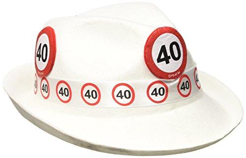 Folat 62340 Tribly Party Hut - Verkehrszeichen 40 Jahre, Unisex-Erwachsene, Weiß, Einheitsgröße