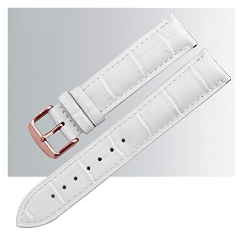 WNFYES Uhrenarmband Leder-Uhr-Band-Bands polierter Schnalle-Uhr-Band-Armband Schnellspanner Ersatz-Armbänder gepolstert uhrenarmband Leder (Color : White Rose Gold Buckle, Size : 18mm)