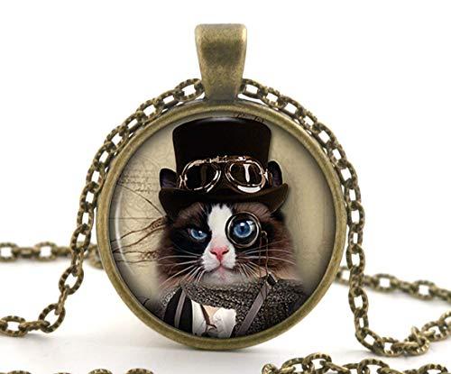 Steampunk - Collar con colgante de gato blanco y negro y negro, diseño de animales de bronce vintage para mujer Steampunk en blanco y negro