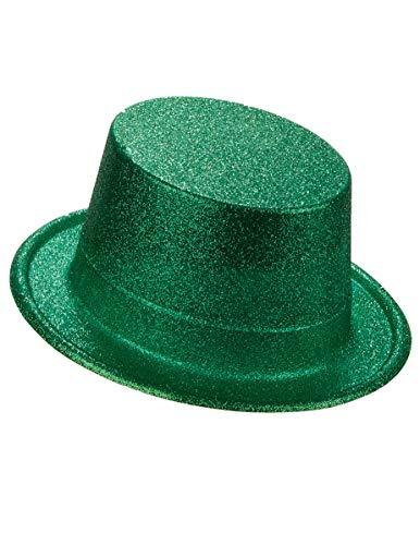 DEGUISE TOI - Chapeau Haut de Forme Plastique pailleté Vert Adulte - Taille Unique