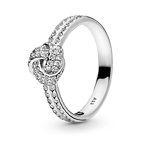 Pandora ladies ring sparkling love knot in silver with zirconia stones, 190997CZ, size. 58