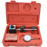 Dial Indicator with Magnetic Base and Point Precision Inspection Set, Long Arm 0-10mm Tester Gage Gauge 0.01mm, by NAKAO