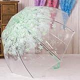 BDDLLM Parapluie Articles de nouveauté épaississent PVC Champignon Transparent Feuilles Vertes parapluies 3 Fois Van Gogh Peinture Femmes célèbres Parapluie de PluieVert