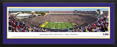 LSU Tigers Football - 44x18-inch Double Mat, Deluxe Framed Picture by Blakeway Panoramas
