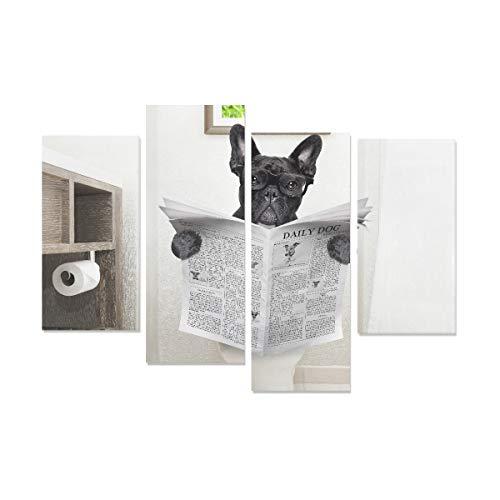 WDDHOME 4 Stücke Canva Print Französische Bulldogge Hund Sitzen Auf Wc Leinwand Für Wandkunst Kein Rahmen Wohnzimmer Büro Hotel Wohnkultur Geschenk