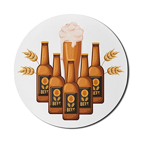 Bier Maus Pad für Computer, Cartoon Illustration von Flaschen und Glas mit Gerste, Runde rutschfeste dicke Gummi Modern Gaming Mousepad, 8 'Runde, Burnt Orange Apricot