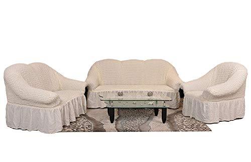 Sultan Palace Stretch Sofabezüge 1er+2er+3er in Creme/Kreme (Sofabezuege Set, Sofabezug) / Sofabezug Husse/Sofahusse/Sofabezug Set/Sofabezuege IKEA/Sofabezug IKEA/Sofabezug modern/Sofahusse Baumwolle