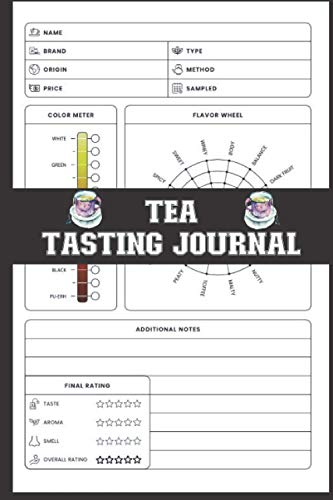 Tea Tasting Journal: Tea Review Logbook To Record Name, Brand, Origin, Price, Type, Method, Sampled, Color Meter, Flavor Wheel, Additional Notes, Final Rating - Gifts For Tea Lovers & Drinkers