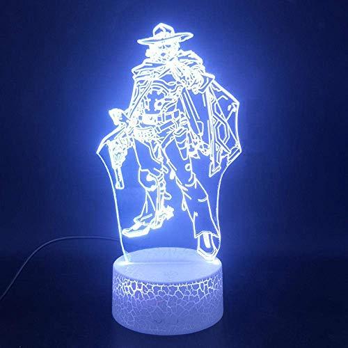 Lámpara de ilusión 3D Luz de noche Led Overwatch Figura McRae Navidad...