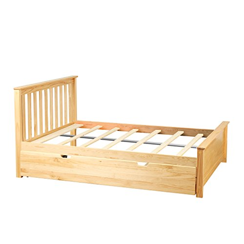 Max & Lily Solid Wood Full-Size Bed with Trundle Bed, Natural
