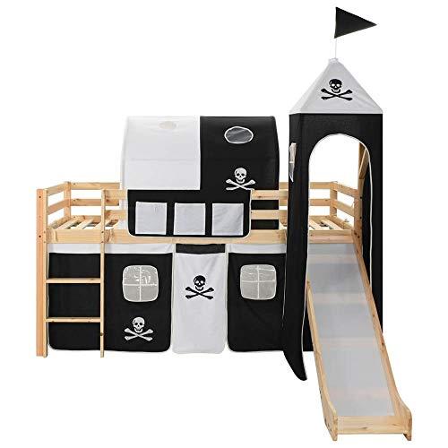 Hochbett für Kinder mit Rutsche Leiter Vorhang Hausbett 90x200 cm Kinderhochbett Spielbett aus Kiefer Massivholz...