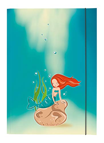folia 6935 - Sammelmappe mit Gummiband DIN A3, Meerjungfrau Motiv, Gummizugmappe zur Aufbewahrung von Zeichnungen, Dokumenten und Schulunterlagen