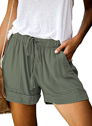 Elapsy Womens Vacation Casual Comfy Drawstring Elastic Waist Summer Casual Short Beach Hot Loose Fit Summer Shorts for Women Performance Shorts with Pockets Green L