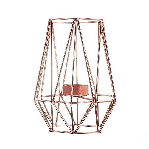 LAMZH Candlestick Holders Geometric Candlestick Metal Iron Candle Holder Home Decorations Nordic Style Party Dinner Event (Color : Rose, Size : One Size)