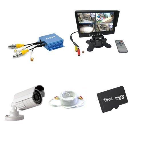 KIT VIDEOSORVEGLIANZA DVR 1 CANALE + MONITOR 7 POLLICI + TELECAMERA 1200 TVL + PROLUNGA 50 METRI AUDIO VIDEO + MEMOROA 16GB