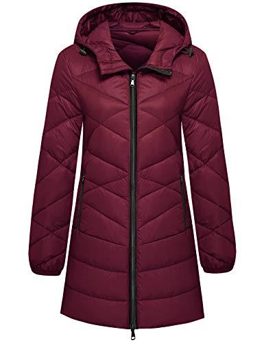 Wantdo Women's Ultra Light Hooded Packable Down Jacket Puffer Coat Wine Red XL