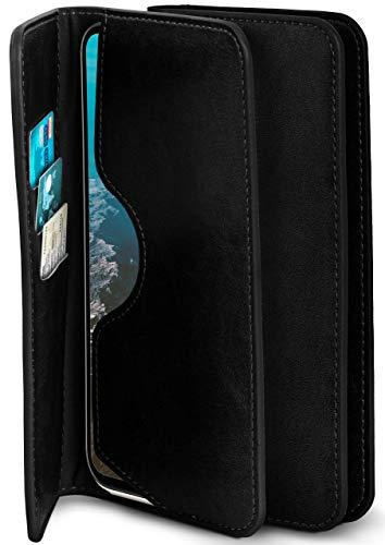 moex Excellence Line Handytasche kompatibel mit TP-Link Neffos C5 Max | Hülle Schwarz - Mit Kartenfach und Geld + Handy Fach, Klapphülle, Flip-Hülle Tasche, Klappbar