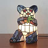 NIUYAO Vintage Desk Lamp Panda Child Bedroom Table Light Stained Glass Lovely Tiffany Style Night Light