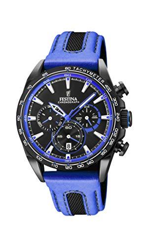 Festina Unisex Erwachsene Chronograph Quarz Smart Watch Armbanduhr mit Leder Armband F20351/2
