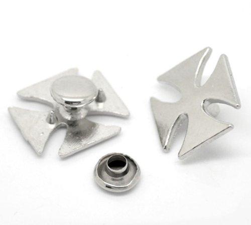 Brovy (TM) 30set argentato croce Spike borchie rivetto per abiti 16x 14mm 7x 3.5mm