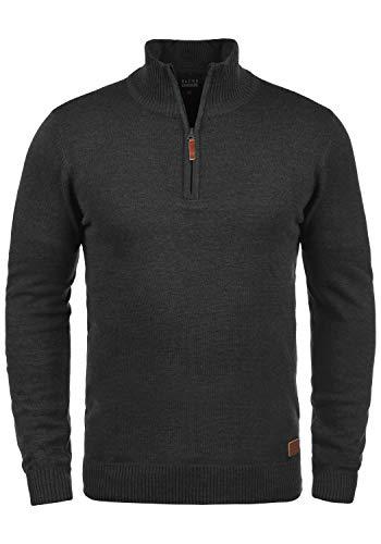 Blend Robin Herren Strickpullover Troyer Feinstrick Pullover Mit Stehkragen Und Reißverschluss, Größe:L, Farbe:Charcoal (70818)