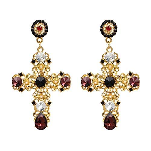 LIUL Pendientes Colgantes de Cruz de Cristal Bohemio Vintage para Mujer Pendientes Largos Grandes Bohemios barrocos, Rojo