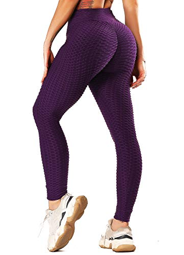 INSTINNCT Damen Slim Fit Hohe Taille Sportshort Lange Leggings mit Bauchkontrolle Lila L