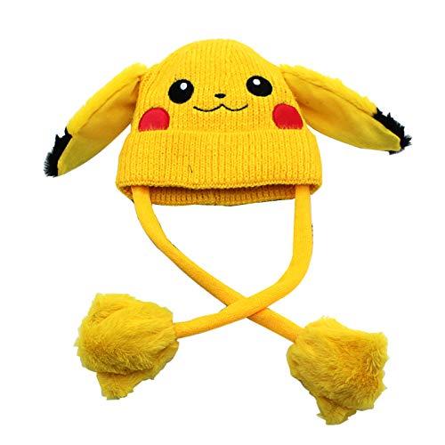 xunlei Sombrero Invierno Anime Lindo Sombrero Pikachu Una Pizca De Orejas Se Moverá Gorra De Lana Caliente para Niños Protector De Oído Sombrero De Punto Sombrero Rojo Sombrero De Conejo.