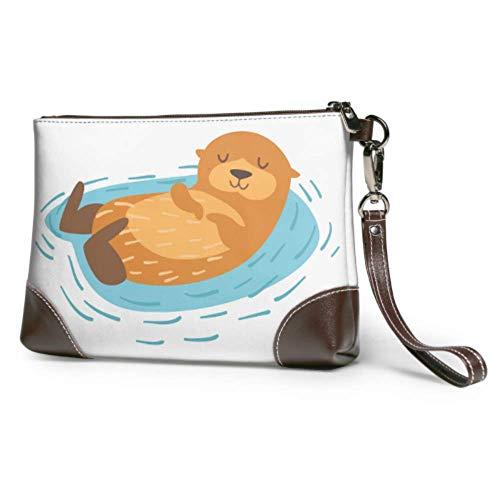 Yushg Weiche wasserdichte Leder Wristlet Tasche Ein süßer Seeotter, der auf Wasser Wristlet Brieftasche Telefon mit Reißverschluss für Frauen Mädchen schwimmt