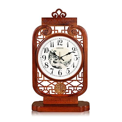 liushop Reloj De Escritorio Tabla Reloj Nuevo Mute Chino Silencio Sólido Escritorio Reloj de Escritorio Reloj Reloj de Cuarzo Reloj de un Solo Lado Dormitorio Marrón Despertador De Escritorio