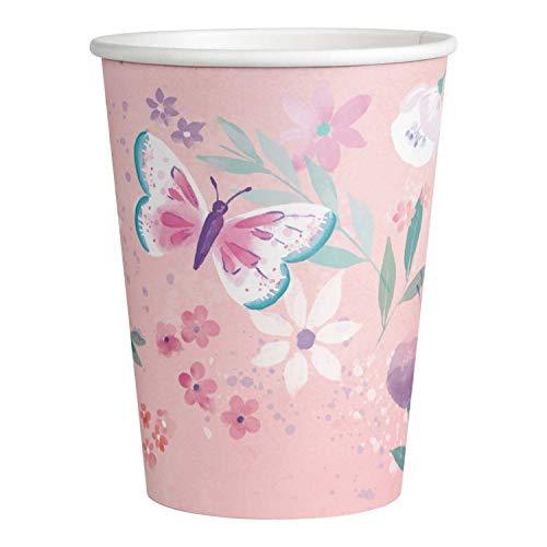 amscan 9909723 – Vasos de inundación, 8 Unidades, 250 ml, Papel, Mariposa, Desechables, Happy Birthday, cumpleaños Infantiles