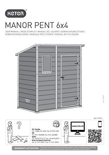 Keter Manor Pent 6X4 Casetta da Giardino in Resina, Colore Grigia, Ottima Per Riporre Attrezzi, Bici, Mobili da Giardino e Accessori, Montata Misura 183 x 111 x 200 cm
