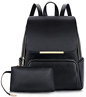 ShopyVid ® Women's PU Leather Stylish and Trending Backpack for College Office Travel Purse (Black)