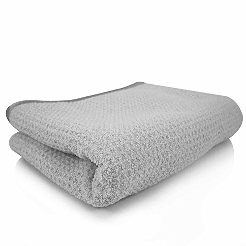 """Chemical Guys MIC_781_01 Waffle Weave Gray Matter 70/30 Blend Microfiber Drying Towel with Silk Edging, 25"""" x 36"""""""