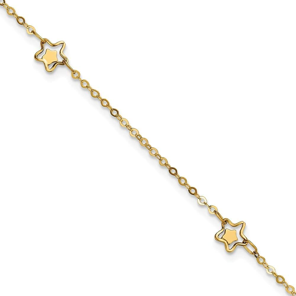 14k Yellow Gold Star Anklet, 9